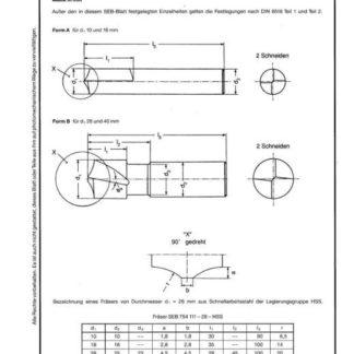 Stahl-Eisen-Betriebsblatt (SEB) 754 111 - Fräser für Schmiertaschen in Gleitleisten und Gleitbahnen