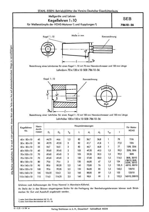 Stahl-Eisen-Betriebsblatt (SEB) 785 10 - Messgeräte und Lehren Kegellehren 1:10 für Wärmestümpfe der HDAS-Motoren und Kupplungen