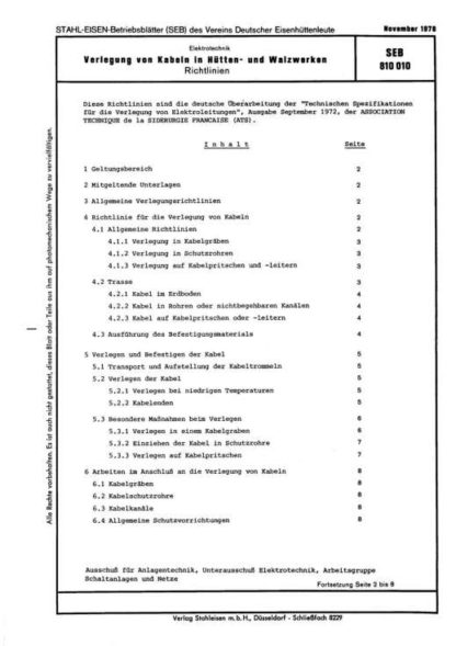 Stahl-Eisen-Betriebsblatt (SEB) 810 010 - Verlegung von Kabeln in Hütten- und Walzwerke - Richtlinien