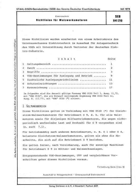 Stahl-Eisen-Betriebsblatt (SEB) 841 210 - Richtlinien für Walzwerksmotoren