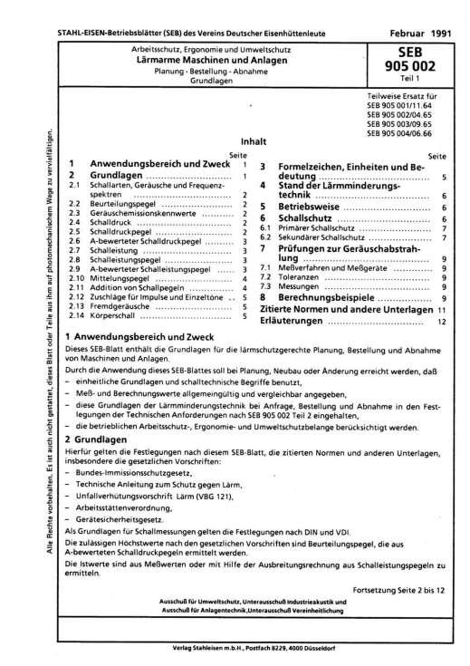 Stahl-Eisen-Betriebsblatt (SEB) 905 002 - Lärmarme Maschinen und Anlagen: Planung - Bestellung - Abnahme - Grundlagen (Teil 1)