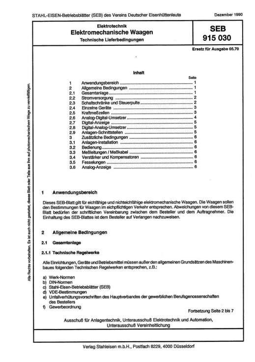 Stahl-Eisen-Betriebsblatt (SEB) 915 030 - Elektromechanische Waagen - Technische Lieferbedingungen