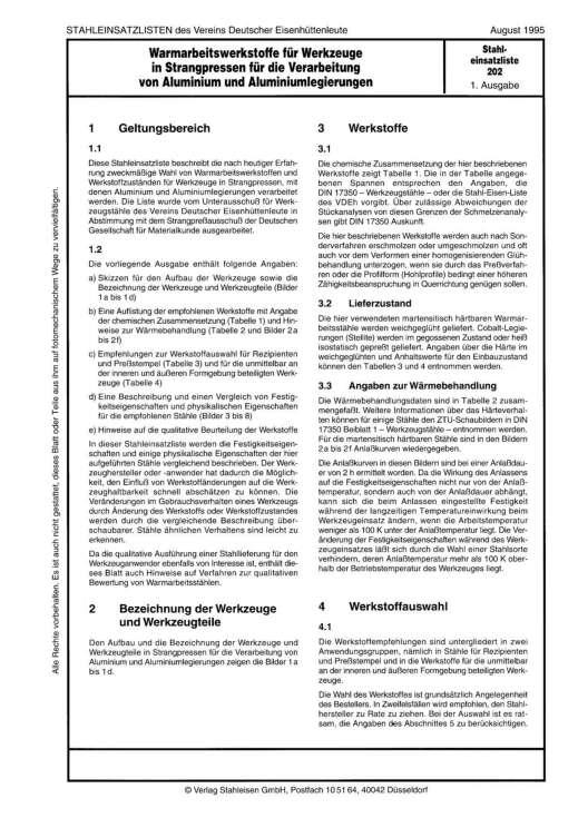 Stahl-Eisen-Lieferbedingungen (SEL) 202 - Warmarbeitswerkstoffe für Werkzeuge in Strangpressen für die Verarbeitung von Aluminium und Aluminiumlegierungen