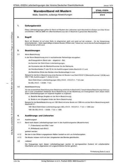 Stahl-Eisen-Lieferbedingungen (SEL) 014 - Warmbreitband mit Mustern: Maße, Gewichte, zulässige Abweichung