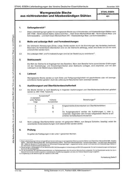 Stahl-Eisen-Lieferbedingungen (SEL) 421 - Warmgewalzte Bleche aus nichtrostenden und hitzebeständigen Stähle