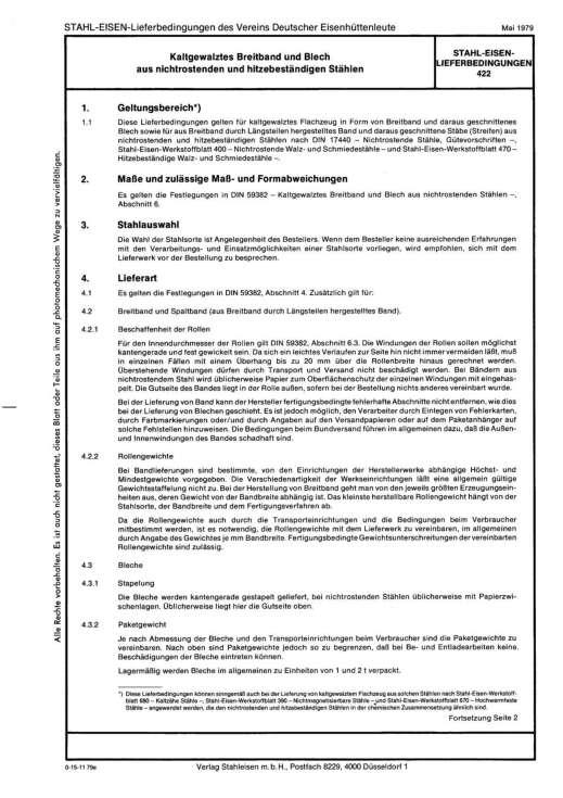 Stahl-Eisen-Lieferbedingungen (SEL) - Kaltgewalztes Breitband und Belch aus nichtrostenden und hitzebeständigen Stählen