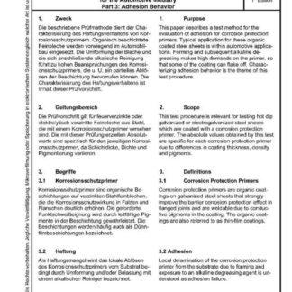 Stahl-Eisen-Prüfblatt (SEP) 1160 - Beruteilung schweißgeeigneter Korrosionsschutzprimer für die Automobilindustrie - Teil 3: Haftungsverhalten