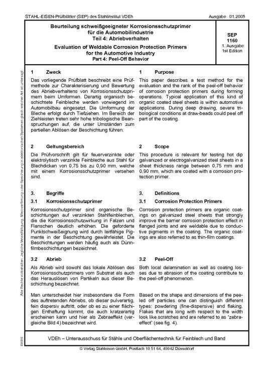 Stahl-Eisen-Prüfblatt (SEP) 1160 - Beruteilung schweißgeeigneter Korrosionsschutzprimer für die Automobilindustrie - Teil 4: Bestimmung des Abriebsverhaltens