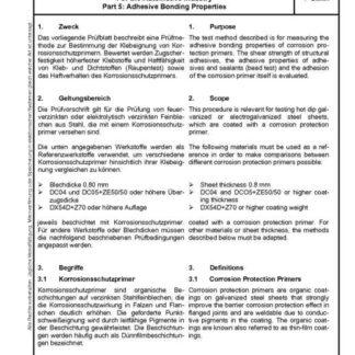 Stahl-Eisen-Prüfblatt (SEP) 1160 - Beruteilung schweißgeeigneter Korrosionsschutzprimer für die Automobilindustrie - Teil 5: Prüfung der Klebeignung