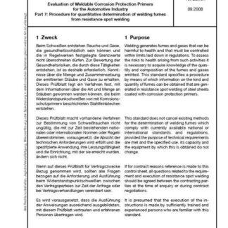 Stahl-Eisen-Prüfblatt (SEP) 1160 - Beruteilung schweißgeeigneter Korrosionsschutzprimer für die