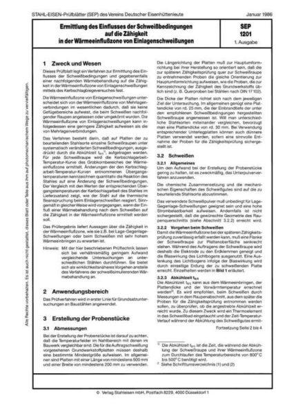 Stahl-Eisen-Prüfblatt (SEP) 1201 - Ermittlung des Einflusses der Schweißbedingungen auf die Zähigkeit in der Wärmeeinflusszone von Einlagenschweißungen