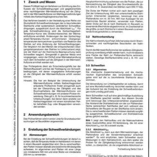 Stahl-Eisen-Prüfblatt (SEP) 1202 - Ermittlung des Einflusses der Schweißbedingungen auf die Zähigkeit in der Wärmeeinflusszone von Mehrlagenverbindungen