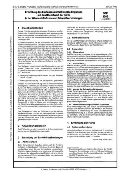 Stahl-Eisen-Prüfblatt (SEP) 1203 - Ermittlung des Einflusses der Schweißbedingungen auf den Höchstwert der Härte in der Wärmeeinflusszone von Schweißverbindungen