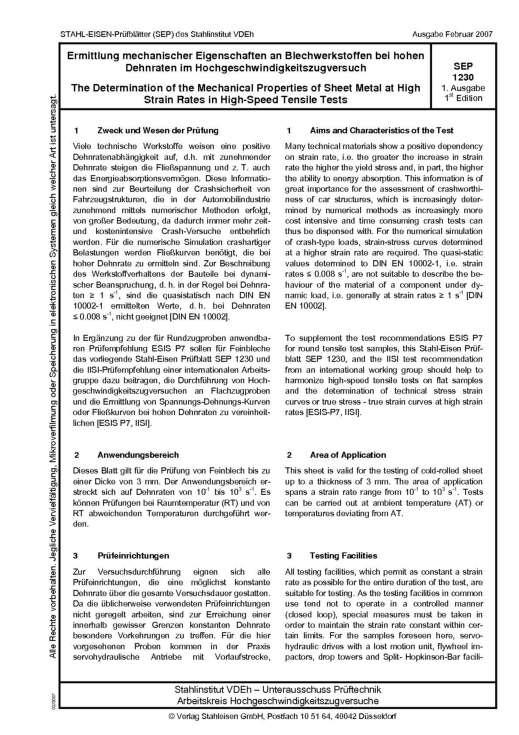 Stahl-Eisen-Prüfblatt (SEP) 1230 - Ermittlung mechanischer Eigenschaften an Blechwerkstoffen bei hohen Dehnarten im Hochgeschwindigkeitszugversuch