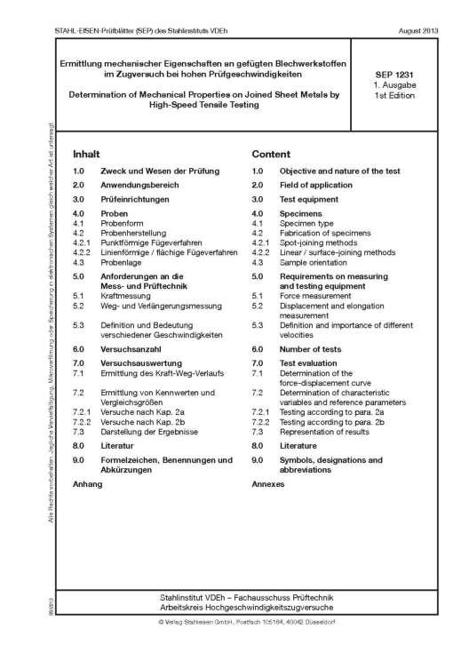 Stahl-Eisen-prüfblatt (SEP) 1231 -