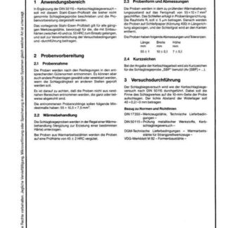 Stahl-Eisen-Prüfblatt (SEP) 1314 - Schlagbiegeprobe, Beschreibung und Probevorbereitung