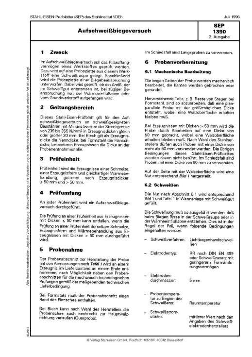 Stahl-Eisen-Prüfblatt (SEP) 1390 - Aufschweißbiegeversuch