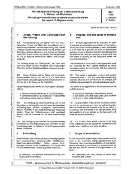 Stahl-Eisen-Prüfblatt (SEP) 1520 - Bildreihentafel zu SEP 1520 im Maßstab 1:1
