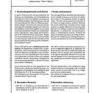Stahl-Eisen-Prüfblatt (SEP) 1571 - Bewertung von Einschlüssen in Edelstählen aus Basis der Einschlussflächen Teil 1: Grundlagen