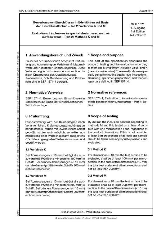 Stahl-Eisen-Prüfblatt (SEP) 1571 - Bewertung von Einschlüssen in Edelstählen aus Basis der Einschlussflächen Teil 2: Verfahren M