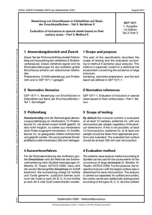 Stahl-Eisen-Prüfblatt (SEP) 1571 - Bewertung von Einschlüssen in Edelstählen aus Basis der Einschlussflächen Teil 3: Verfahren E