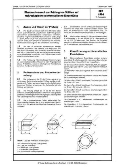 Stahl-Eisen-Prüfblatt (SEP) 1584 - Blaubruchversuch zur Prüfung von Stählen auf makroskopische nichtmetallische Einschlüsse