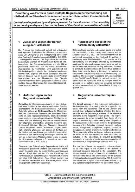 Stahl-Eisen-Prüfblatt (SEP) 1664 - Ermittlung von Formeln durch multiple Regression zur Berechnung der Härtbarkeit im Stirnabschreckversuch aus der chemischen Zusammensetzung von Stählen