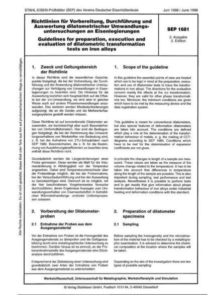 Stahl-Eisen-Prüfblatt (SEP) 1681 - Richtlinien für Vorbereitung, Durchführung und Auswertung dilatometrischer Umwandlungsuntersuchungen an Eisenlegierungen