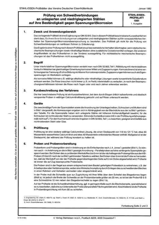 Stahl-Eisen-Prüfblatt (SEP) 1861 - Prüfung von Schweißverbindungen an unlegierten und niedriglegierten Stählen auf ihre Beständigkeit gegen Spannungsrisskorrosion