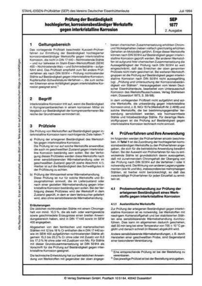 Stahl-Eisen-Prüfblatt (SEP) 1877 - Prüfung der Beständigkeit hochlegierter, korrosionsbeständiger Werkstoffe gegen interkristalline Korrosion