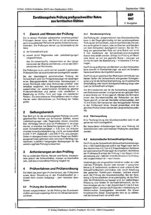 Stahl-Eisen-Prüfblatt (SEP) 1917 - Zerstörungsfreie Prüfung pressgeschweißter Rohre aus ferritischen Stählen