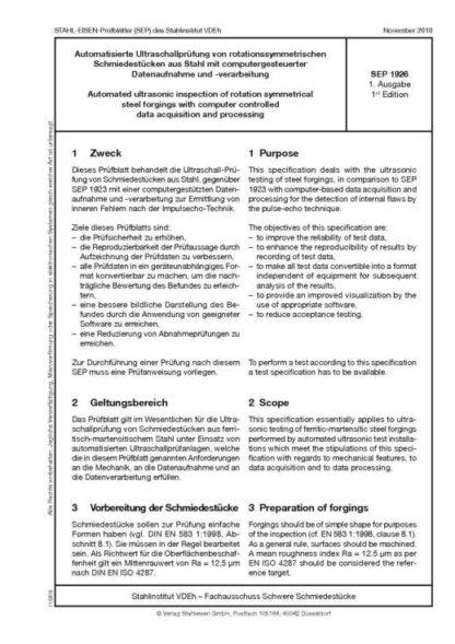 Stahl-Eisen-Prüfblatt (SEP) 1926 - Automatisierte Ultraschallprüfung an rotationssymmetrischen Schmiedestücken aus Stahl mit computergesteuerter Datenaufnahme und -verarbeitung