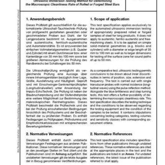 Stahl-Eisen-Prüfblatt (SEP) 1927 - Ultraschall - Tauchtechnik - Prüfung zur Bestimmung des makroskopischen Reinheitsgrades von gewalzten oder geschmiedeten Stählen aus Stahl