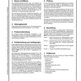 Stahl-Eisen-Prüfblatt (SEP) 1931 - Prüfung der Haftung von Zinküberzügen auf feuerverzinktem Feinblech, Kugelschlagprüfung