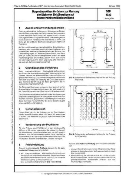 Stahl-Eisen-Prüfblatt (SEP) 1932 - Magnetinduktives Verfahren zur Messung der Dicke von Zinküberzügen auf feuerverzinktem Blech und Band