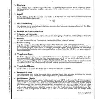 Stahl-Eisen-Prüfblatt (SEP) 1960-66 - Ermittlung der Rohrdichte von Hochofenschlackensplitt mit dem Überlaufvolumenometer