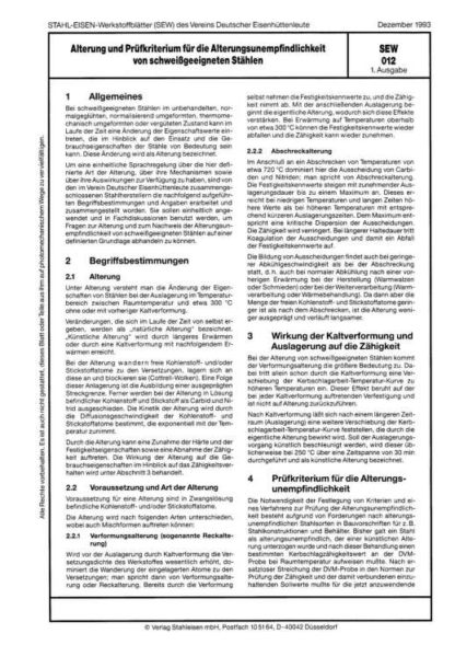 Stahl-Eisen-Werkstoffblatt (SEW) 012 - Alterung und Prüfkriterien für die Alterungsunempfindlichkeit von schweißgeeigneten Stählen