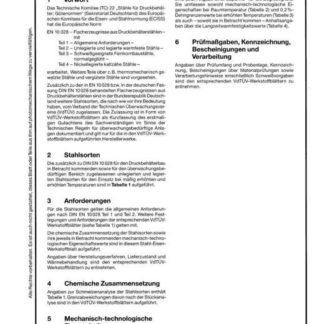 Stahl-Eisen-Werkstoffblatt (SEW) 028 - Unlegierte und legierte Druckbehälterstähle für den Einsatz bei mäßig ehöhten Temperaturen
