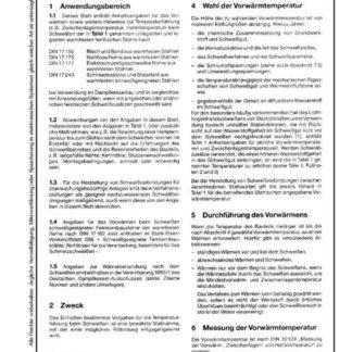 Stahl-Eisen-Werkstoffblatt (SEW) 086 - Unlegierte und legierte warmfeste ferritische Stähle - Vormwärmen beim Schweißen