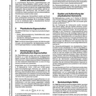 Stahl-Eisen-Werkstoffblatt (SEW) 310 - Physikalische Eigenschaften von Stähle