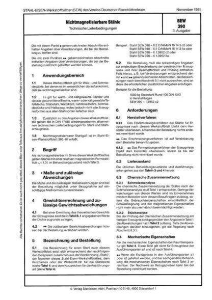 Stahl-Eisen-Werkstoffblatt (SEW) 390 - Nichtmagnetisierbare Stähle - Technische Lieferbedingungen