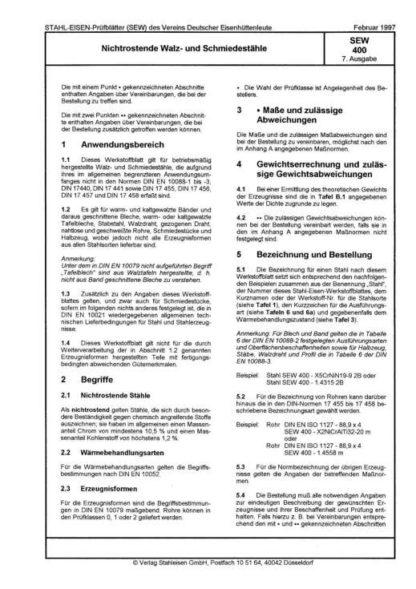 Stahl-Eisen-Werkstoffblatt (SEW) 400 - Nichtrostende Walz- und Schmiedestähle