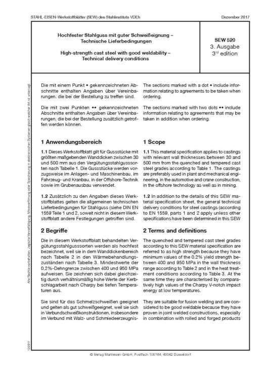 Stahl-Eisen-Werkstoffblatt (SEW) 520 - Hochfester Stahlguss mit guter Schweißeignung - Technische Lieferbedingungen