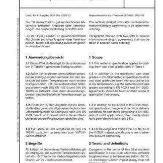 Stahl-Eisen-Werkstoffblatt (SEW) 685 - Kaltzähler Stahlguss - Technische Lieferbedingungen