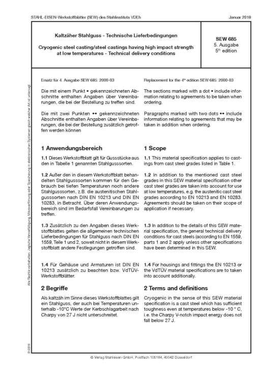 Stahl-Eisen-Werkstoffblatt (SEW) 835 - Kaltzähler Stahlguss - und Induktionshärtung