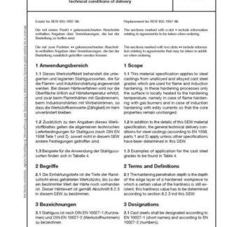 Stahl-Eisen-Werkstoffblatt (SEW) 835 - Stahlguss für Flamm- und Induktionshärtung - Technische Lieferbedingungen