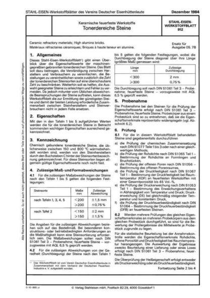 Stahl-Eisen-Werkstoffblatt (SEW) 912 - Keramische feuerfeste Werkstoffe: Tonerdereiche Steine