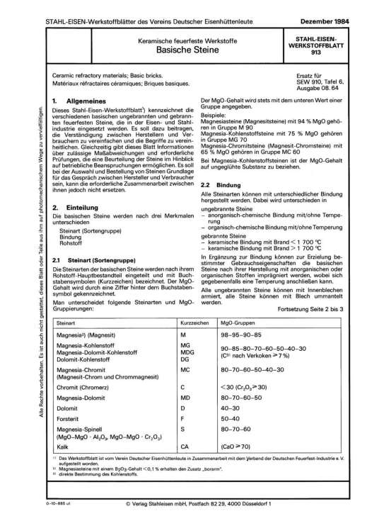 Stahl-Eisen-Werkstoffblatt (SEW) 913 - Kreamische feuerfeste Werkstoffe - Basische Steine