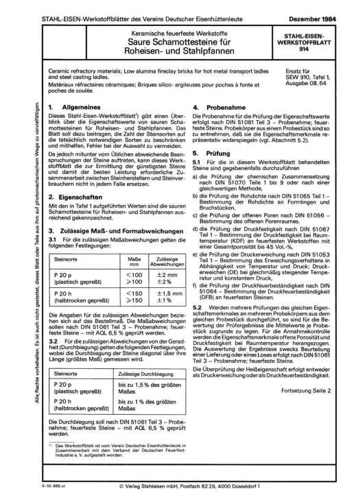 Stahl-Eisen-Werkstoffblatt (SEW) 914 - Keramisch feuerfeste Werkstoffe - Saure Schamottensteine für Rohreisen- und Stahlpfannen