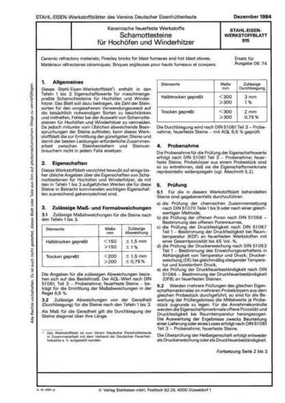 Stahl-Eisen-Werkstoffblatt (SEW) 915 - Keramische feuerfeste Werkstoffe: Schamottensteine für Hochöfen und Winderhitzer